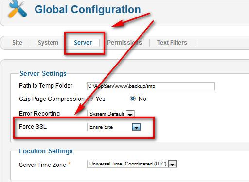 how to Enable ssl in joomla