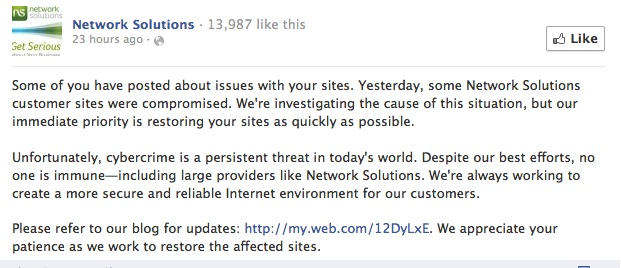 Network Solutions FB Updates