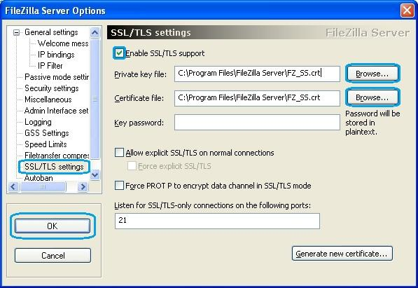 Install an ssl on filezilla server
