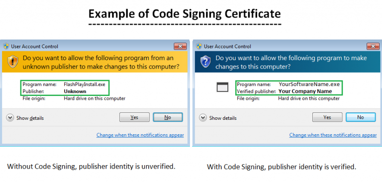 example code signing certificate