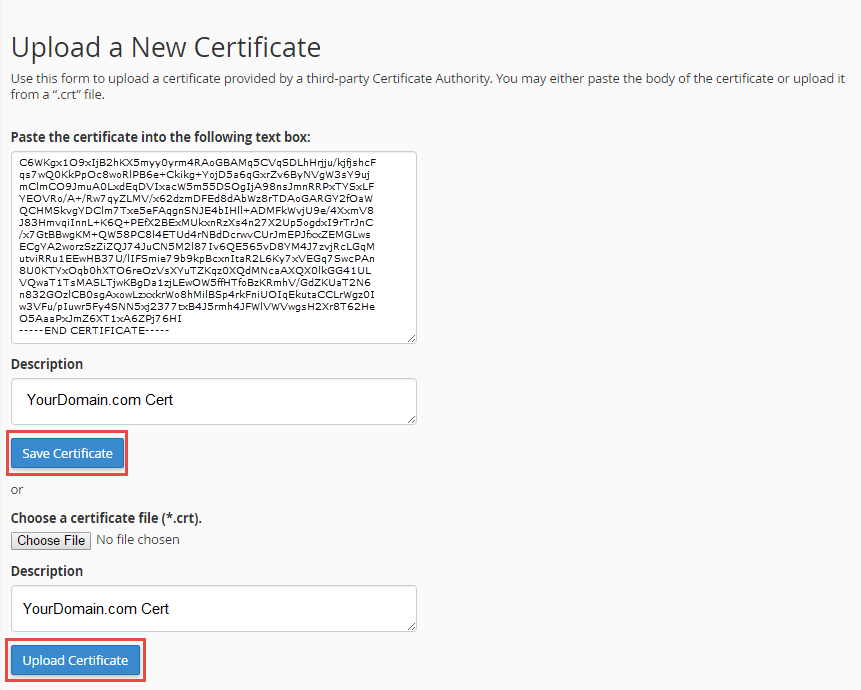 Upload New SSL Certificate