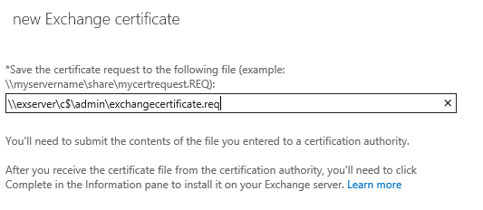 Save Certificate request on new Exchange certificate