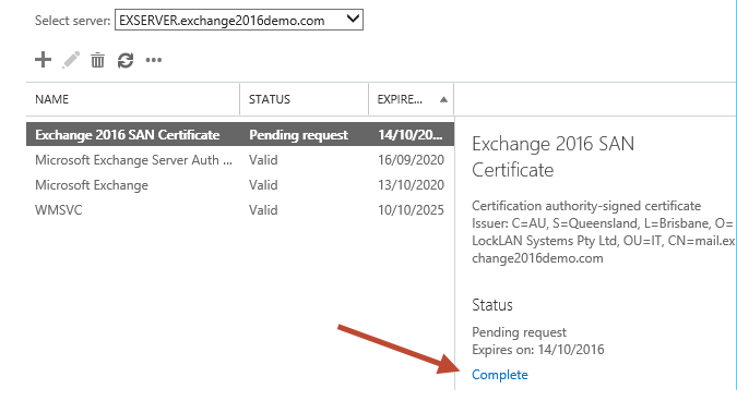 Exchange Server Selection on EAC