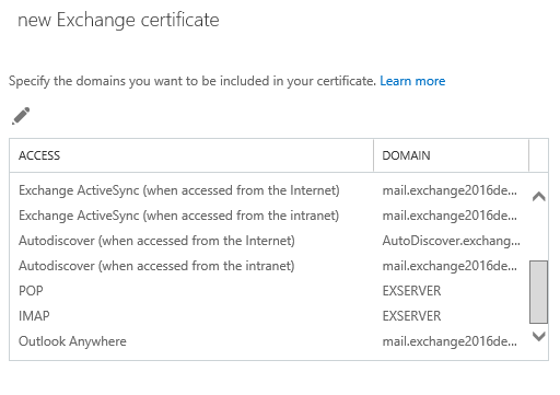 new exchange certificate specifydomains