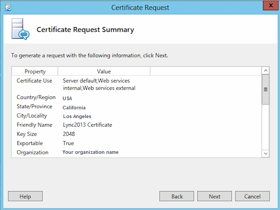 Certificate Request Summary Screen
