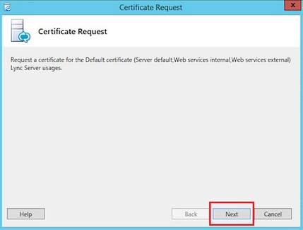 Screen shot of Certificate Request on Lync Server