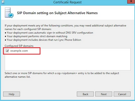 Configure SIP domains