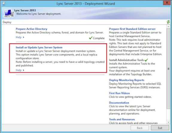 Screen shot of Lync Server 2013 Deployment Wizard