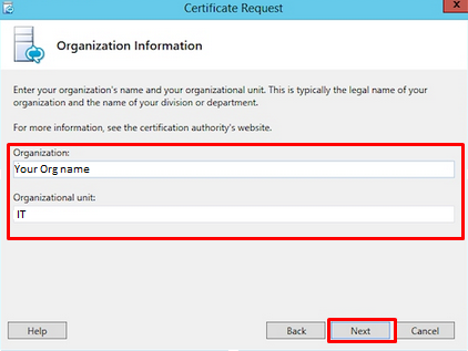 Organization information on Certificate Request