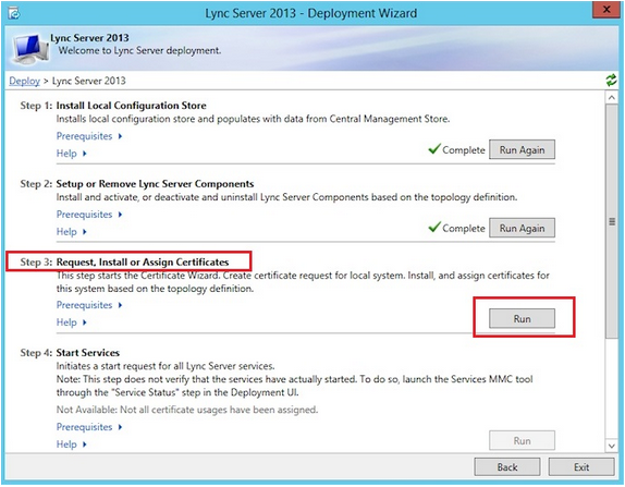 Screenshot of Request Certificate on Lync Server 2013