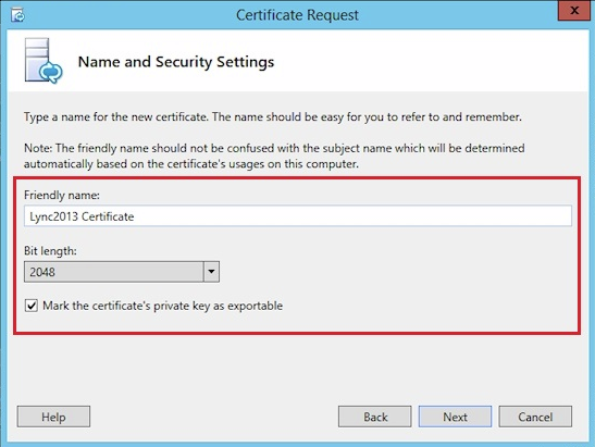 name and security settings screenshot