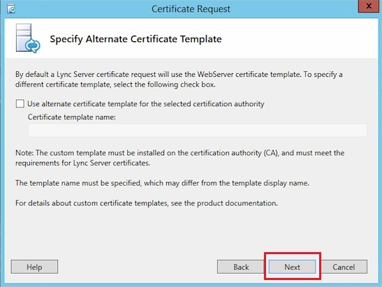 specify alternate certificate template