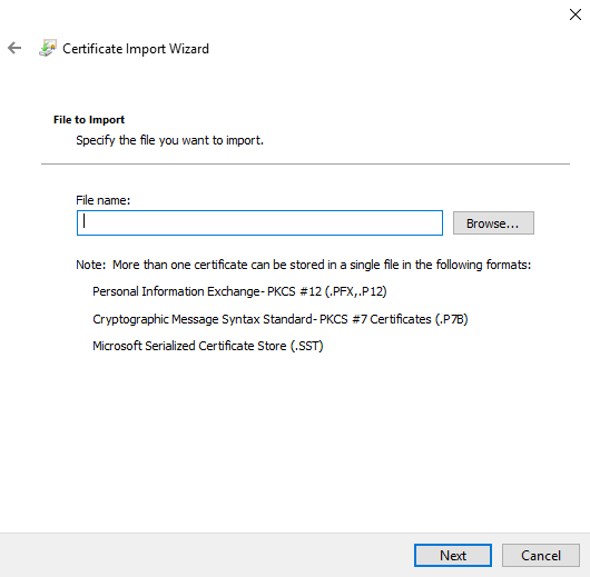 Uploading Root certificate using Certificate Import Wizard