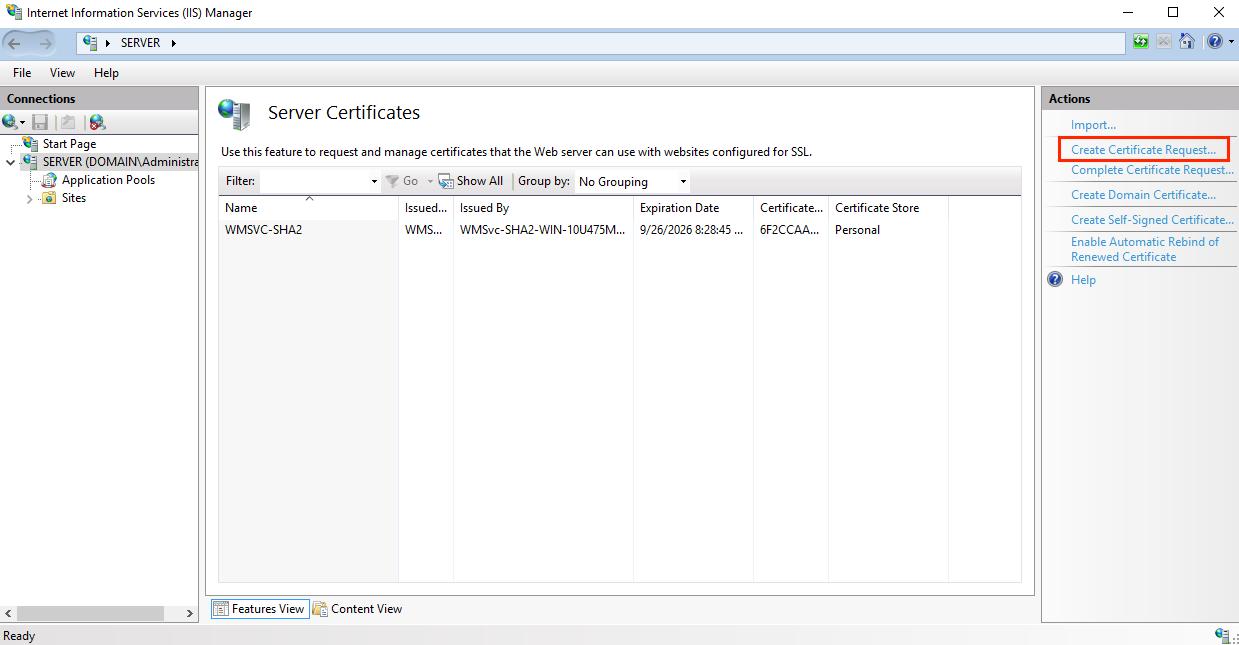 Create Certificate Request in IIS Manager