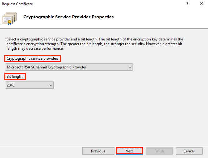 Cryptographic Service Provider Properties window on IIS