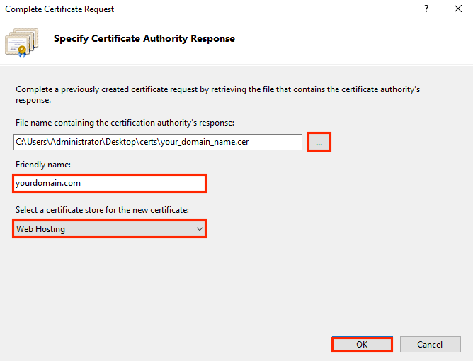 Specify Certificate Authority Response