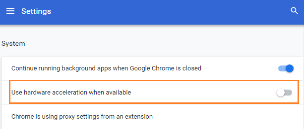 hardware acceleration setting in chrome