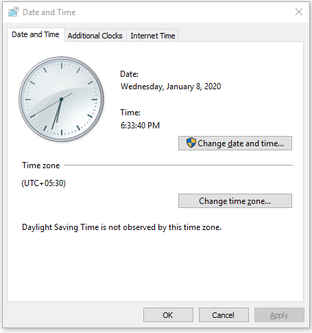 Date and Time on Windows