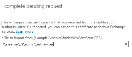 set the unc path to the certificate